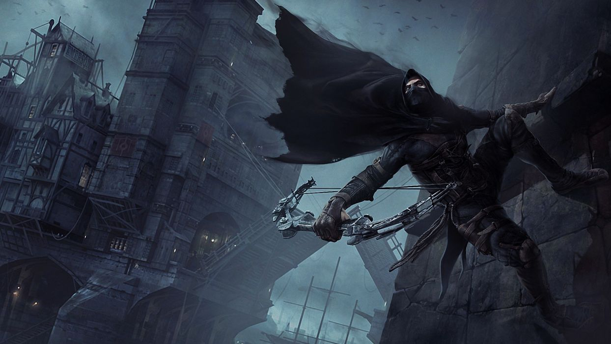 Thief Warrior Weapons Archer Bow Mask Fantasy Castle Wallpaper