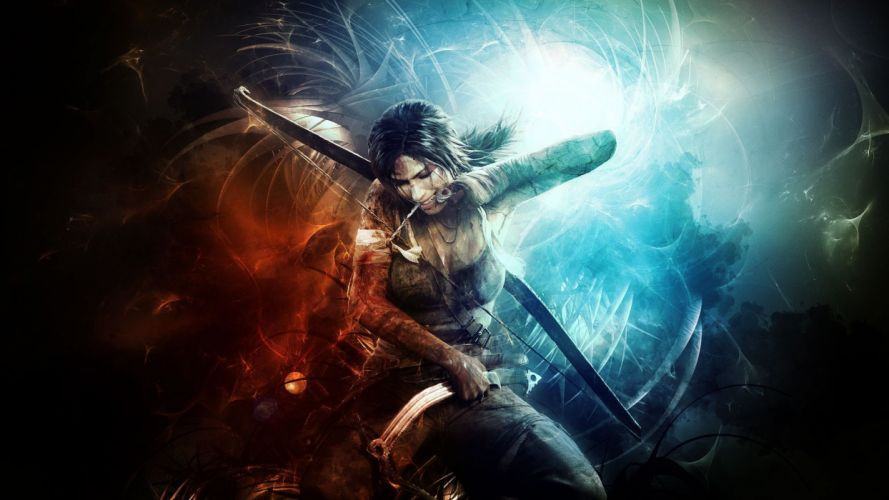 Tomb Raider Lara Croft Abstract warrior weapons bow archer women females girls wallpaper