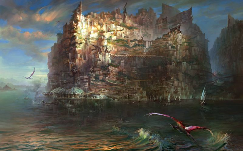 Torment Tides of Numenera Drawing Dragon Ocean cities sea water art fantasy waves wallpaper