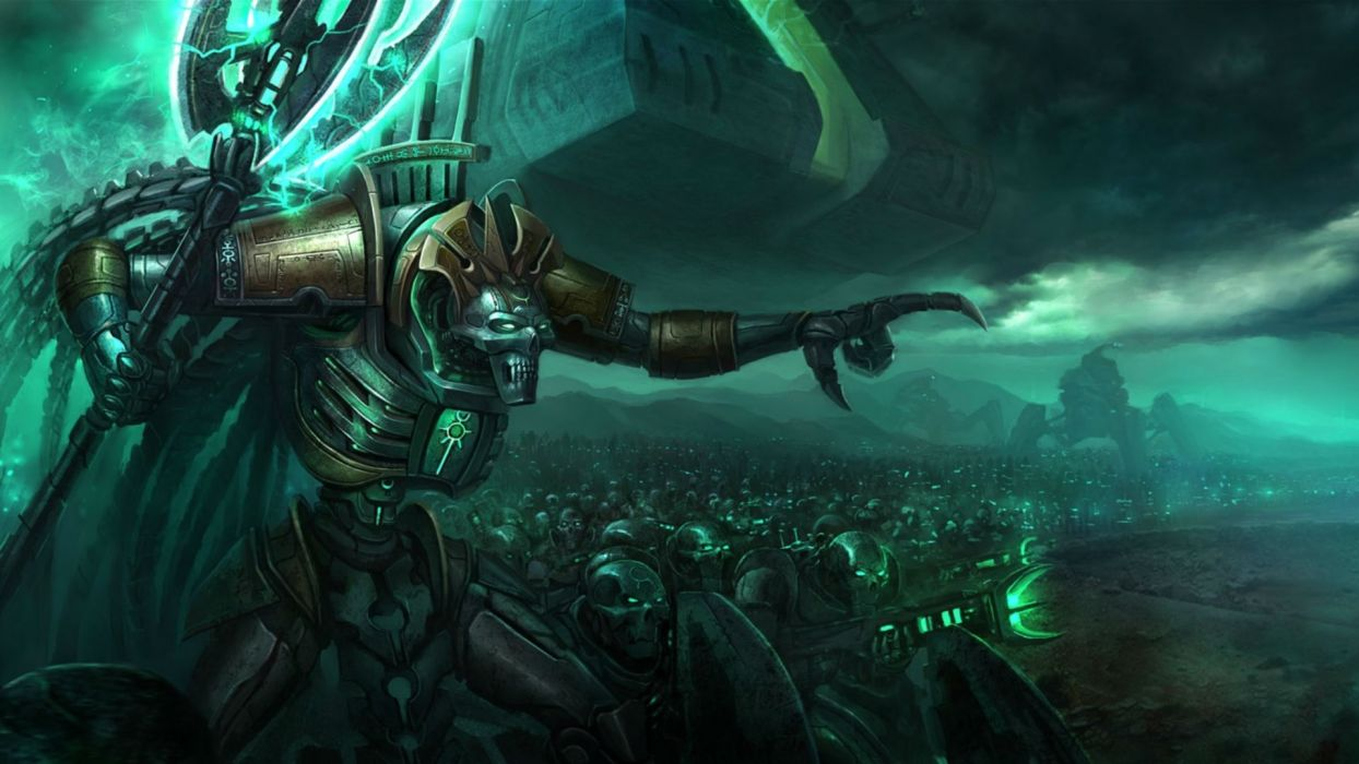 Warhammer 40k Necrons army warrior sci-fi armor robots weapons wallpaper
