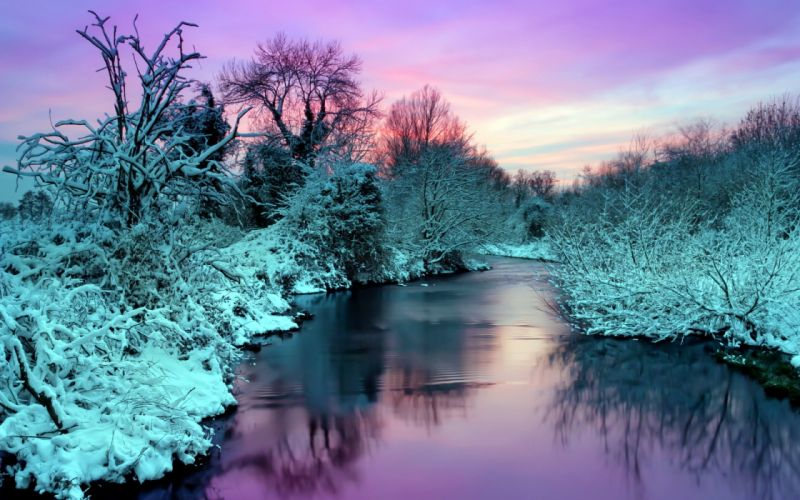 winter river nature landscape reflection sunset sunrise snow sky wallpaper
