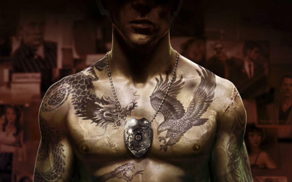 Sleeping Dogs cop badge tattoos police men males muscle wallpaper