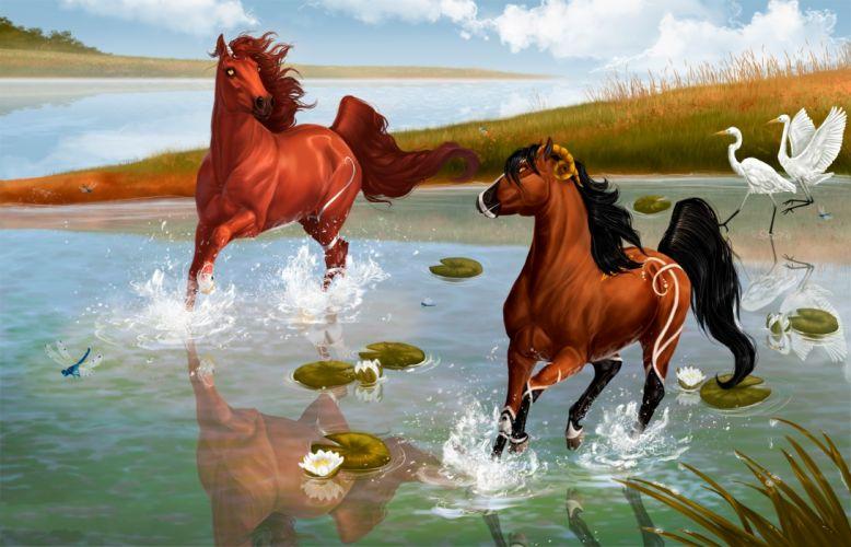 Spirit Stallion of the Cimarron Cartoons fantasy horses birds lakes reflection wallpaper