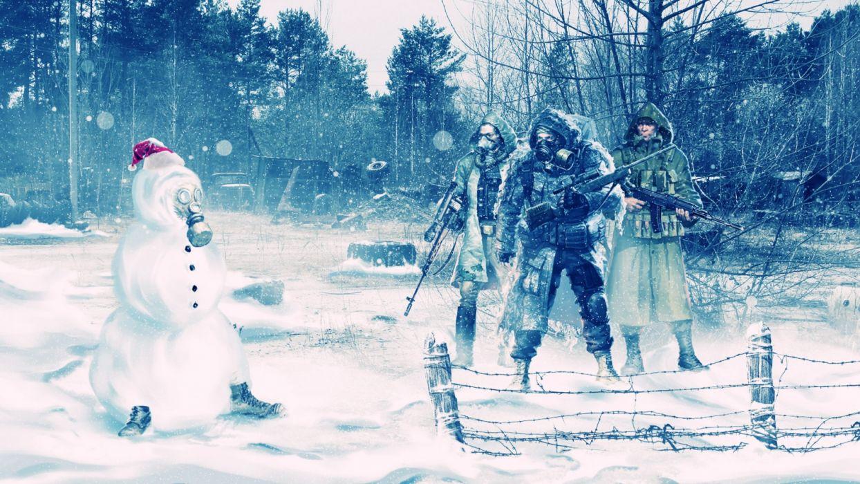 Stalker Snowman Snow Winter Gas Mask christmas humor warriors soldiers videogames wallpaper