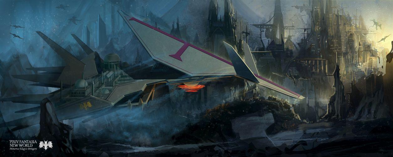 aircraft city ino satsu pixiv fantasia wallpaper