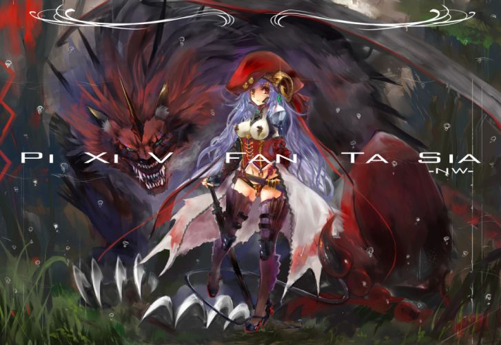 animal armor blood breasts gond hat horns long hair navel necklace pixiv fantasia purple hair red eyes skull sword tail topless weapon wallpaper