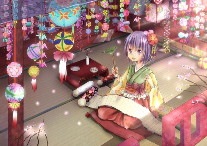 animal bird hieda no akyu japanese clothes rikkunia short hair touhou wallpaper