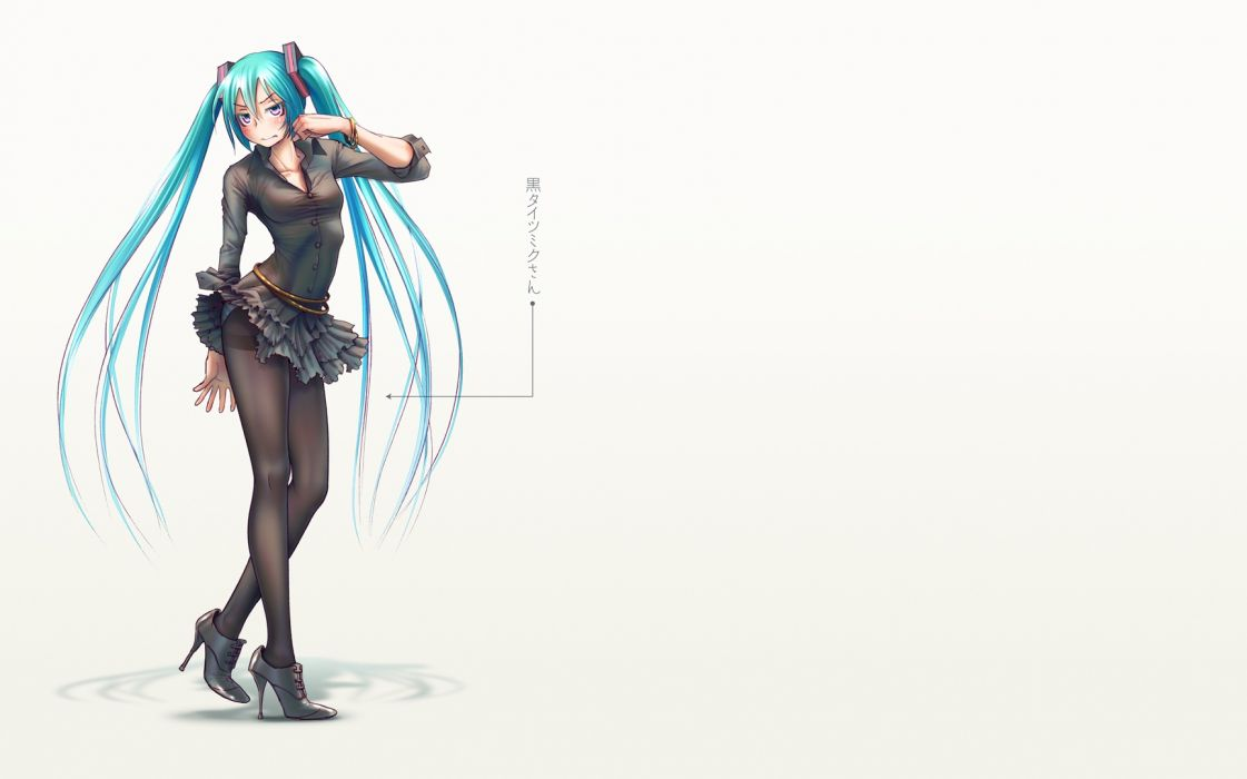 aqua hair hatsune miku long hair panties pantyhose striped panties takouji twintails underwear vocaloid wallpaper