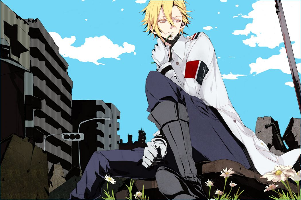 bambino blonde hair daryl yan flowers gloves guilty crown male sky wallpaper