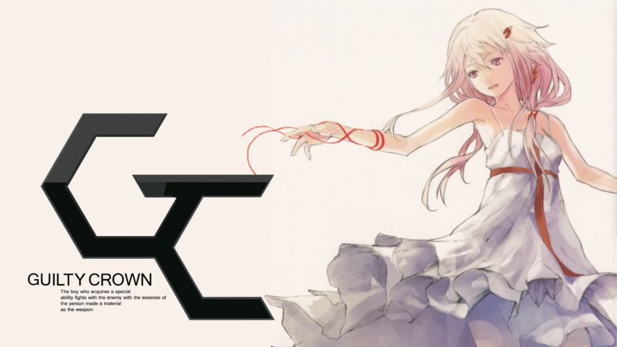 dress guilty crown pink hair red eyes redjuice ribbons white yuzuriha inori wallpaper
