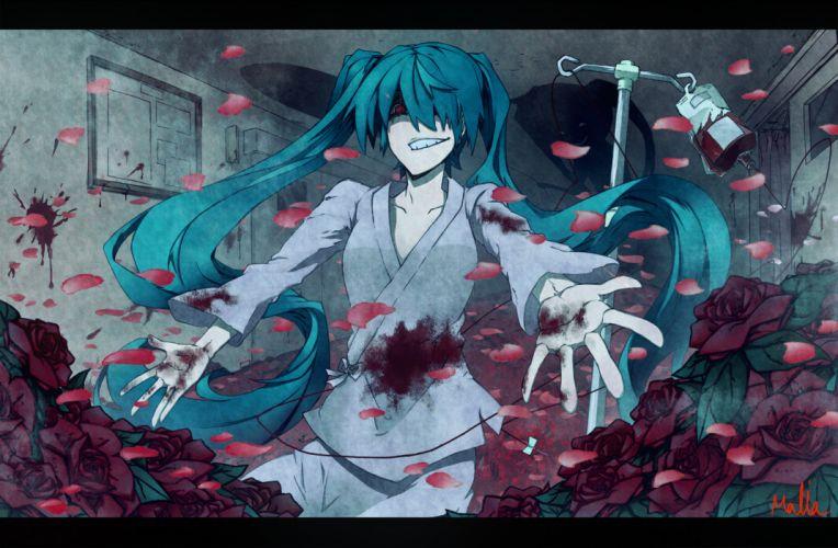 blood hatsune miku twintails vocaloid wallpaper