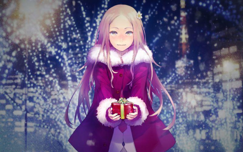 brown hair christmas green eyes guilty crown long hair night ouma mana redjuice santa costume tie wallpaper
