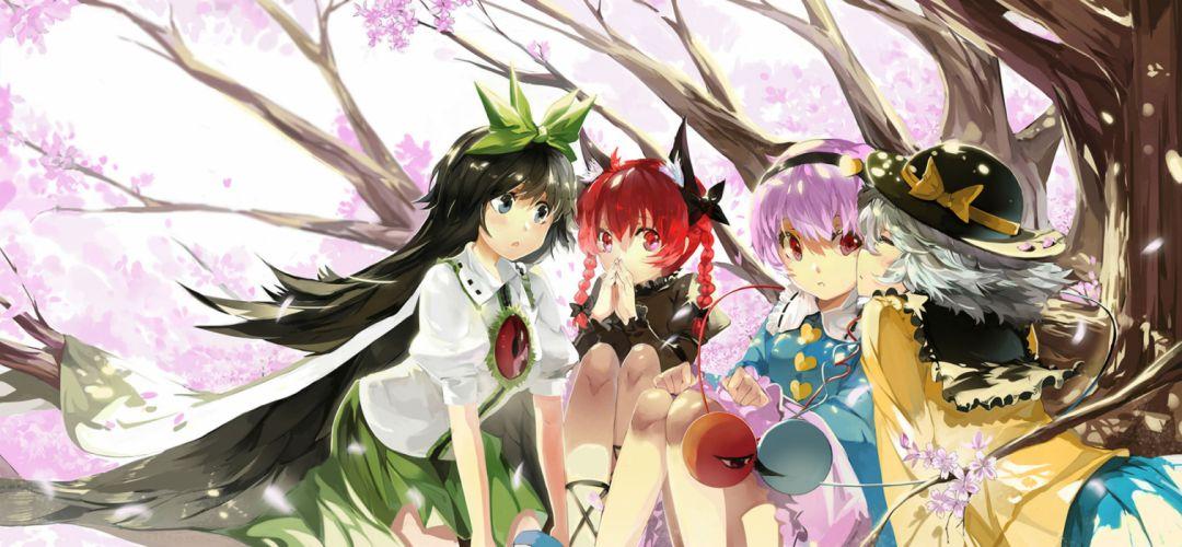 cherry blossoms dress hat kaenbyou rin komeiji koishi komeiji satori petals purple hair reiuji utsuho saberiii touhou wings wallpaper