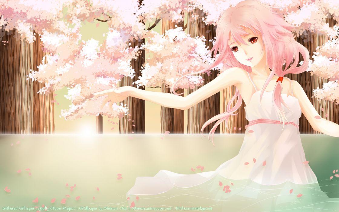 guilty crown pink pink hair summer dress water wet yuzuriha inori wallpaper