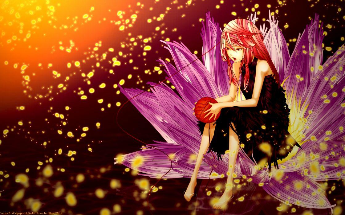 guilty crown pink hair red eyes yuzuriha inori wallpaper
