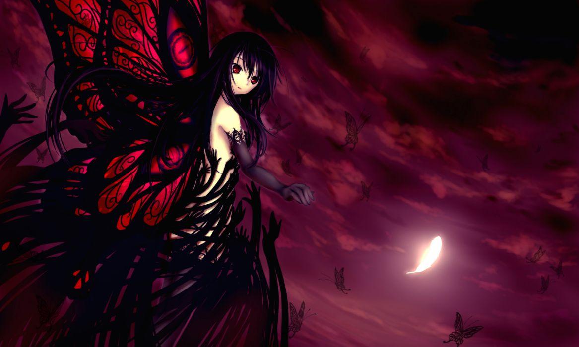 accel world butterfly kuro yuki hime maoh moon night wallpaper
