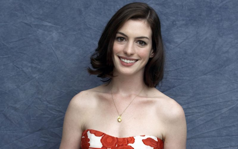 Anne Hathaway actress women females girls sexy babes face eyes c wallpaper