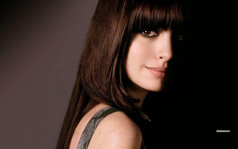 Anne Hathaway actress women females girls sexy babes face eyes b wallpaper