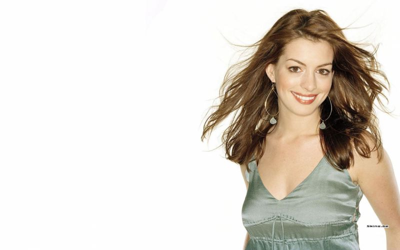 Anne Hathaway actress women females girls sexy babes face eyes d wallpaper