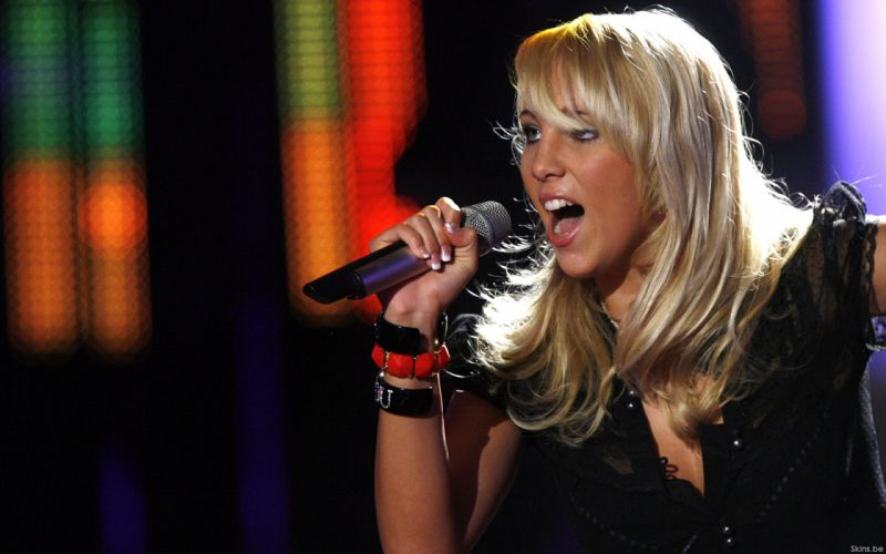 Annemarie Eilfeld singer musician blondes women females girls sexy babes face eyes concert microphone wallpaper
