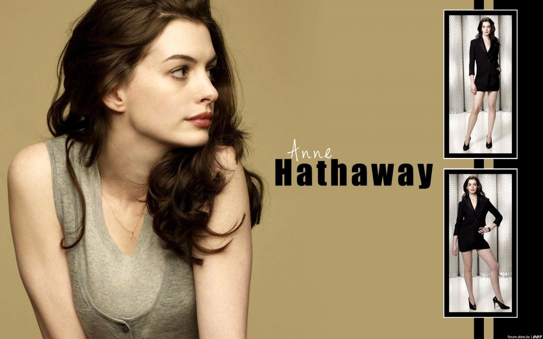 Anne Hathaway actress women females girls sexy babes face eyes       t wallpaper