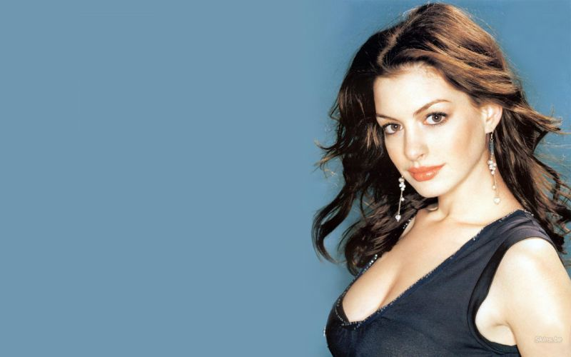 Anne Hathaway actress women females girls sexy babes face eyes cleavage h wallpaper