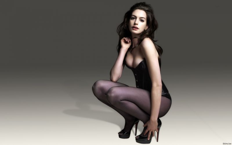 Anne Hathaway actress women females girls sexy babes face eyes cleavage legs wallpaper