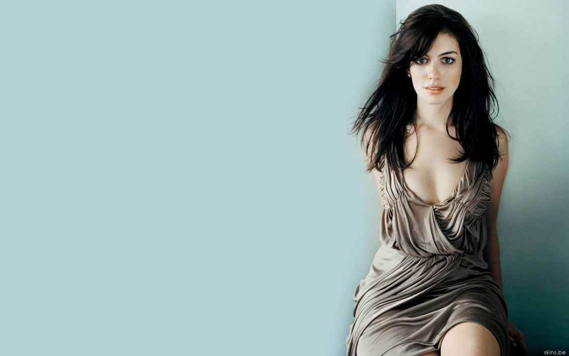 Anne Hathaway actress women females girls sexy babes face eyes cleavage wallpaper