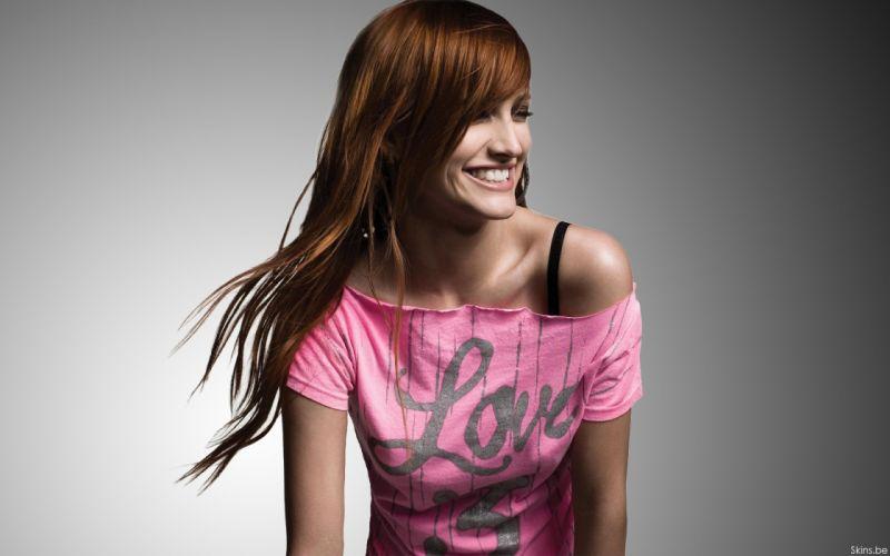 Ashlee Simpson singer musician redheads women females girls sexy babes face eyes wallpaper