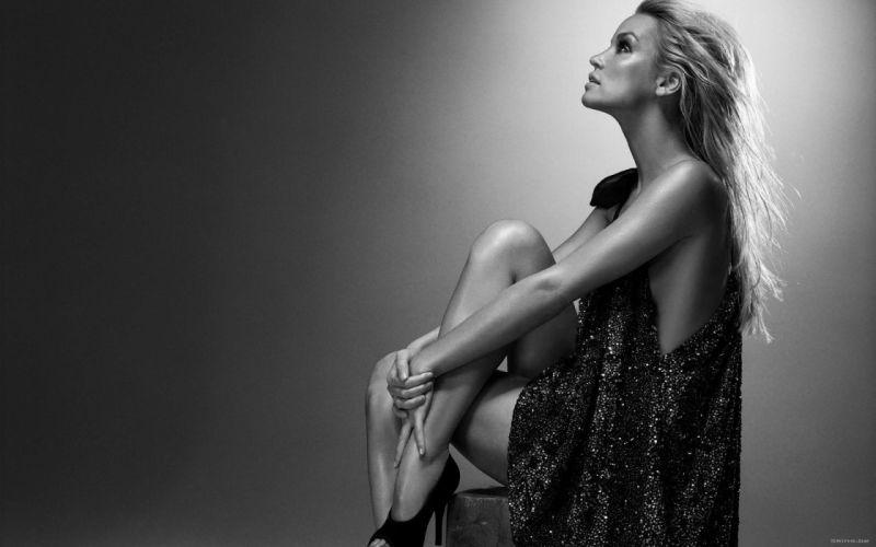 Ashley Scott actress blondes women females girls sexy babes black white monochrome wallpaper
