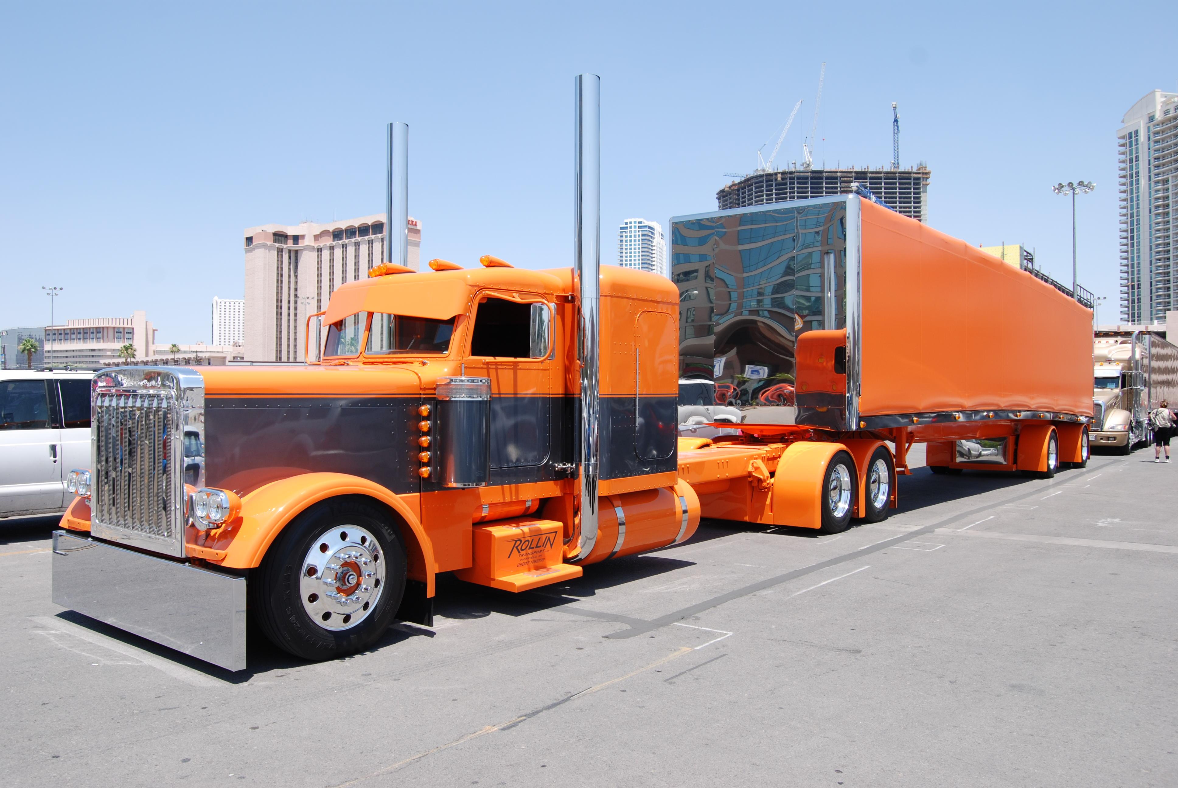 Trucks Custom Big Rig Orange : Semi trucks tractor rigs peterbilt wallpaper