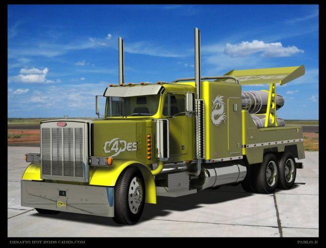 Peterbilt semi trucks tractor rigs jets racing wallpaper