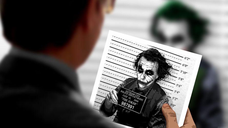 The Joker police lineup Batman The Dark Knight wallpaper