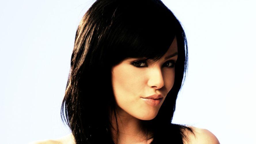 brunettes women models Vikki Blows faces white background black hair wallpaper