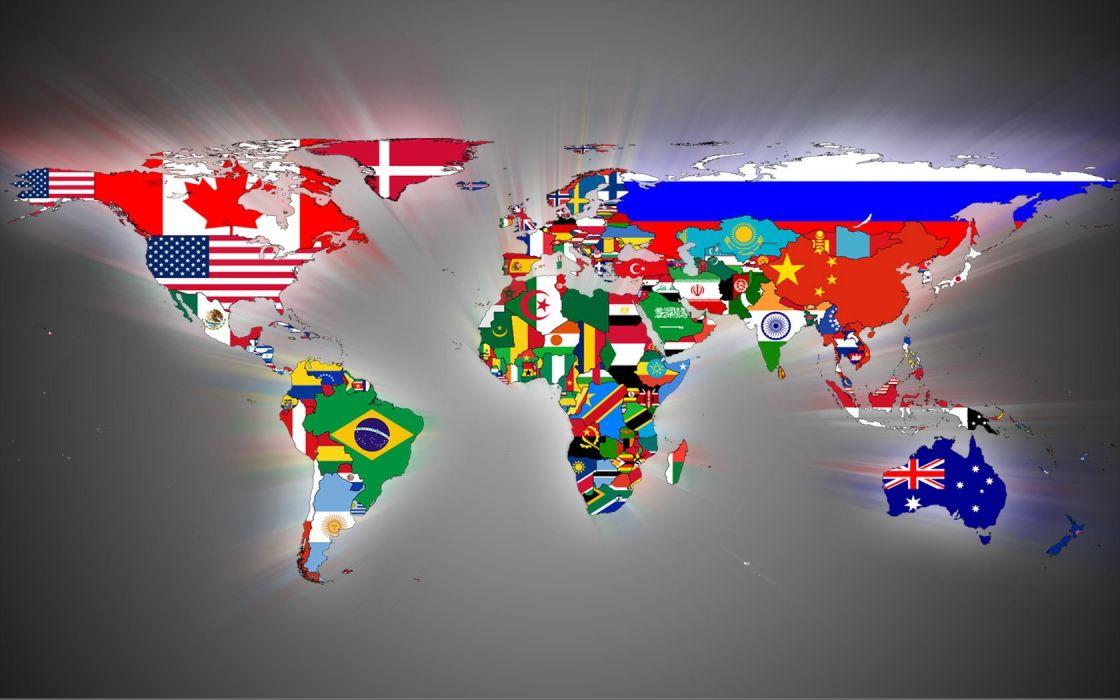 Flags World Map Wallpaper 1680x1050 53968 Wallpaperup