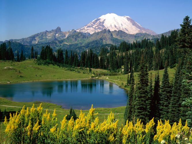 landscapes nature scenic Mountain of Faith lakes Alpine Washington wallpaper