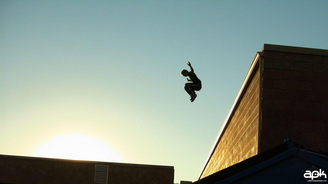 Sunset Jumping Buildings Parkour Blue Skies Wallpaper