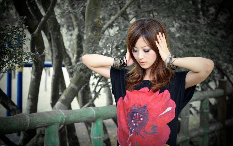 brunettes Asians Mikako Zhang Kaijie wallpaper