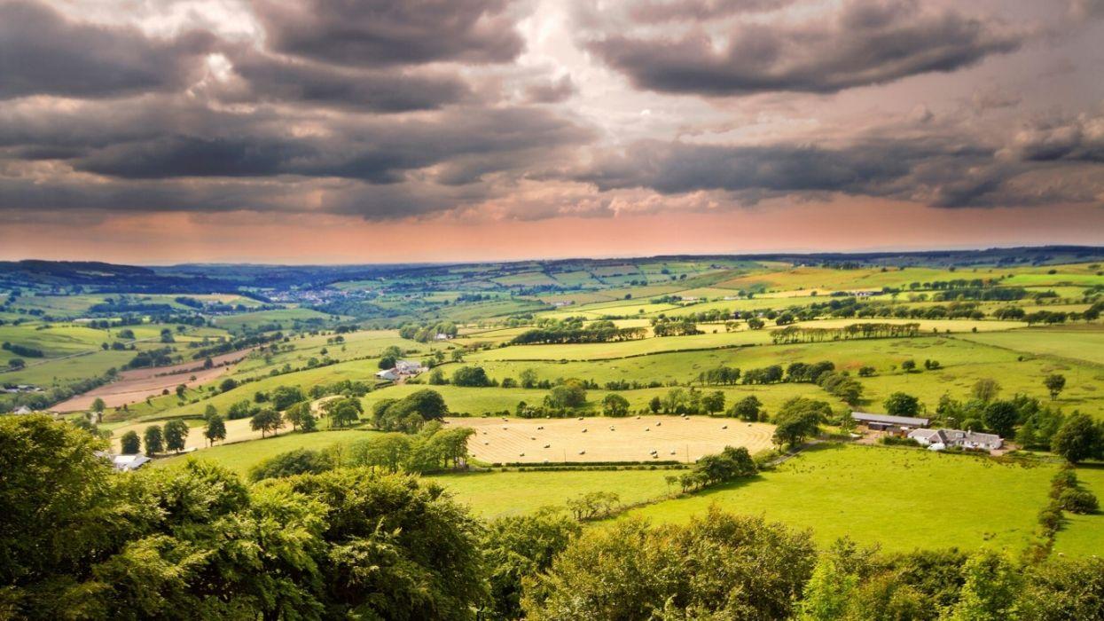 clouds landscapes nature horizon trees Distance plain sky wallpaper