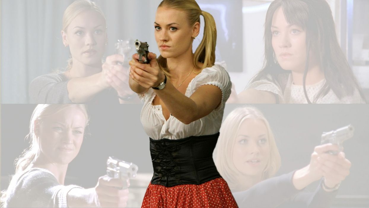 blondes women Yvonne Strahovski girls with guns Chuck TV Series wallpaper