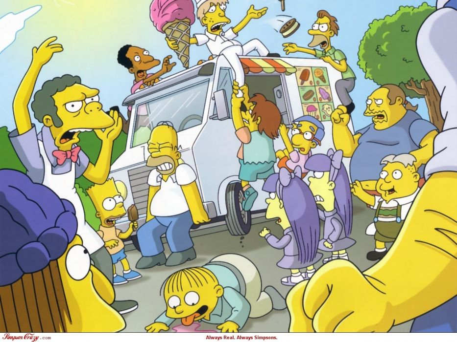 cartoons ice cream riot Homer Simpson The Simpsons Bart Simpson Ralph Wiggum Comic Book Guy Moe Szyslak Milhouse Van Houten Nelson wallpaper