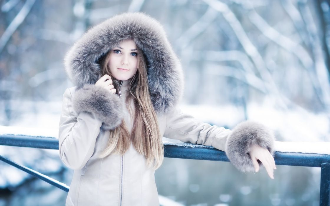 blondes women winter blue eyes long hair coat wallpaper