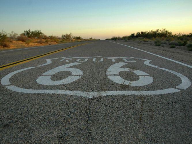 landscapes skylines route 66 roads wallpaper