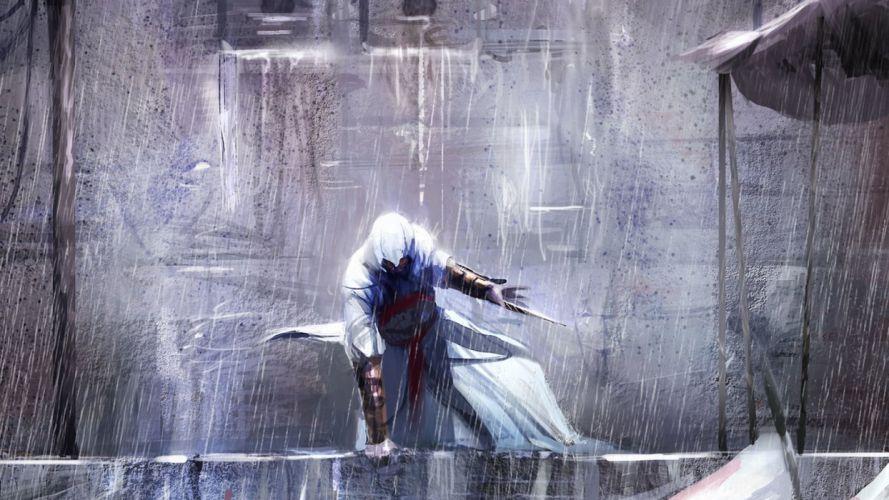 paintings assassin Assassins Creed Altair Ibn La Ahad drawings Playstation 3 wallpaper