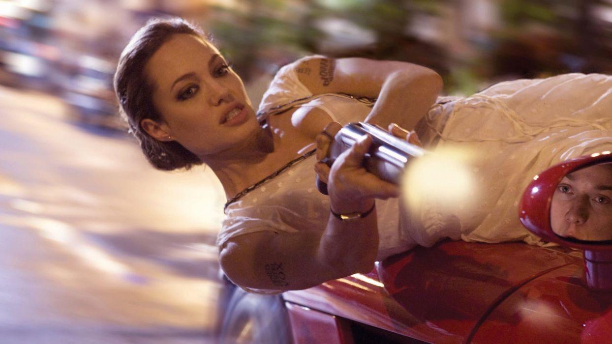 brunettes women guns actress Angelina Jolie girls with guns Wanted (movie) wallpaper