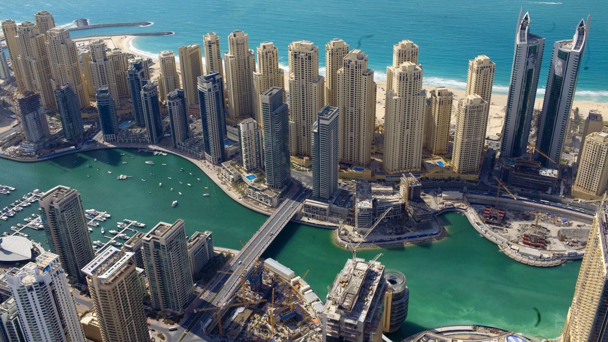 cityscapes Dubai United Arab Emirates marina sea shorelines Jumeirah Beach Residence wallpaper