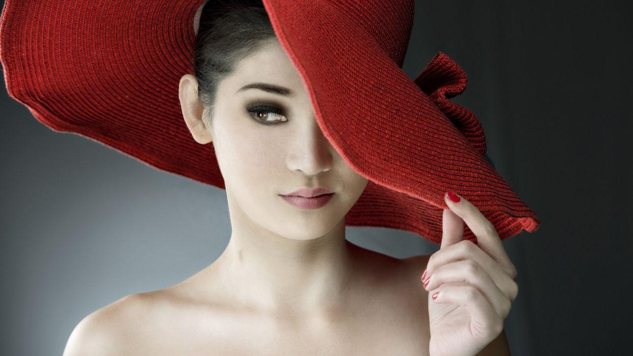 women models Asians red hat  hats Myanmar wallpaper