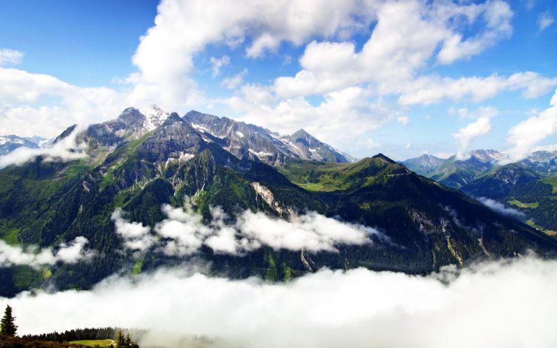 mountains clouds landscapes nature Austria wallpaper