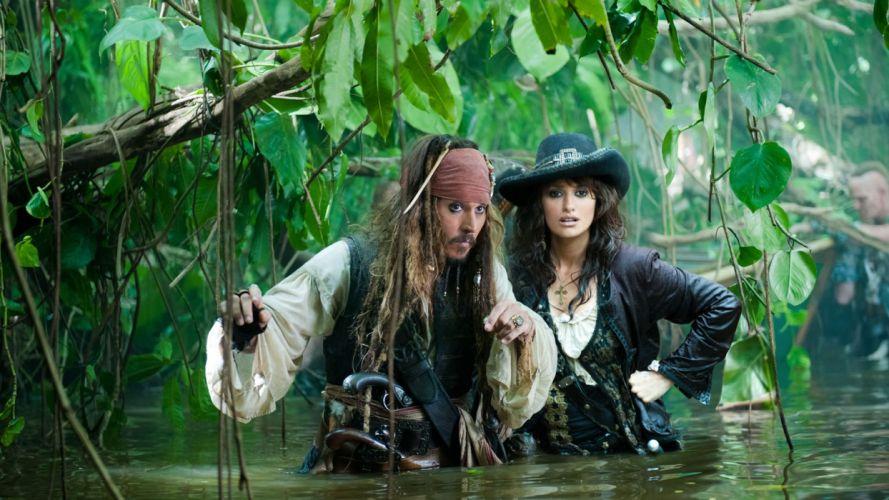 Penelope Cruz Pirates of the Caribbean Johnny Depp Captain Jack Sparrow Pirates of the Caribbean On Stranger Tides wallpaper