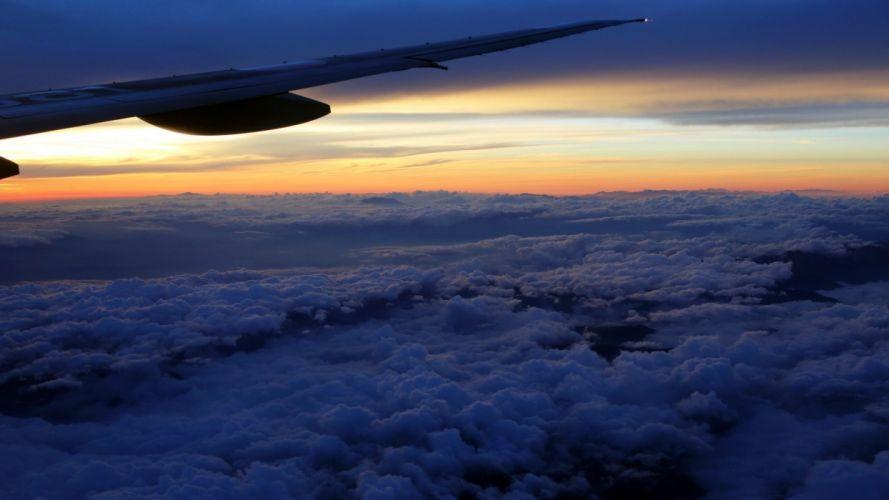 clouds wings Sun aircraft wallpaper